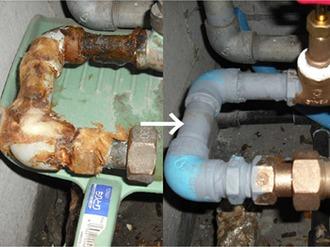 緊急止水工事を行い、日を改めてマンション全配管の入れ替え工事を行いました。