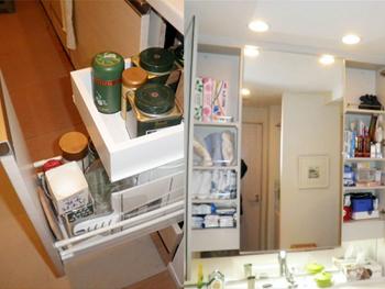 システムキッチンの使いにくかった「引出し」を造作 洗面台の収納は、扉の開き方を変えて使いやすくなりました。